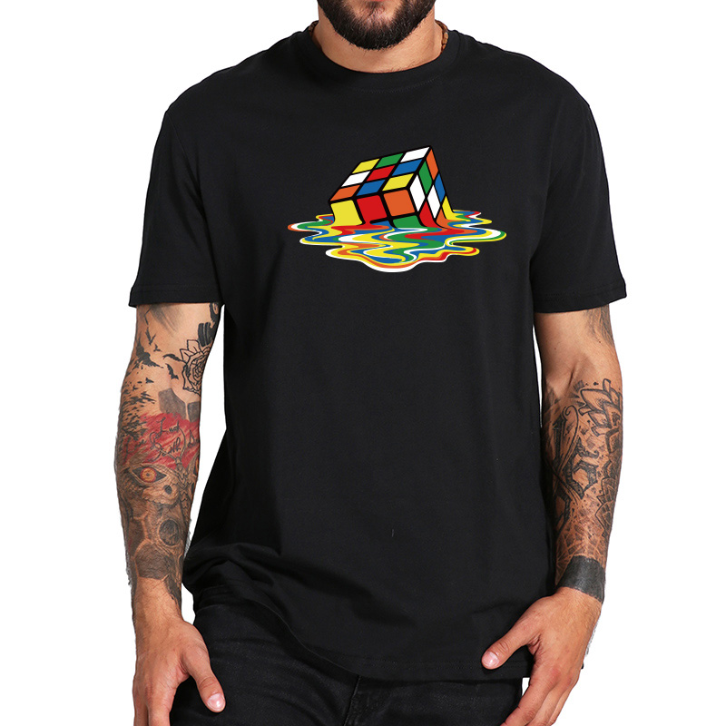 High Quality Geek Rubik's Cube T-Shirt Men Short Sleeve Cotton T-shirt O-neck Printed Tee Funny Tops EU Size