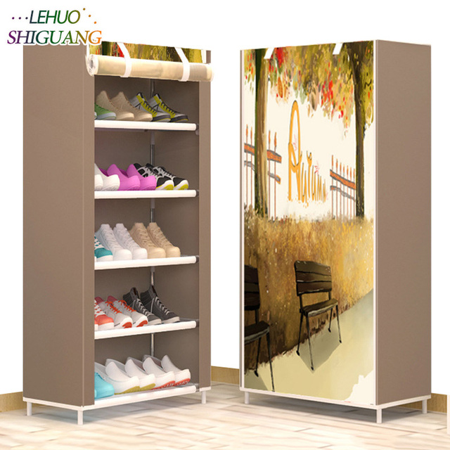 Shoe Cabinet 6 Layer 5 Grid Non Woven Fabrics Large Shoe Rack Organizer