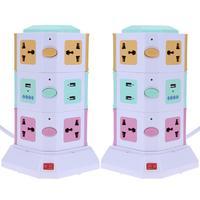 3 Слои Smart Электровилки + 2 Порты USB торговый центр Office для дома Разъем Вертикальный Мощность розетка ЕС/Великобритания 23x13.5x13.5 см