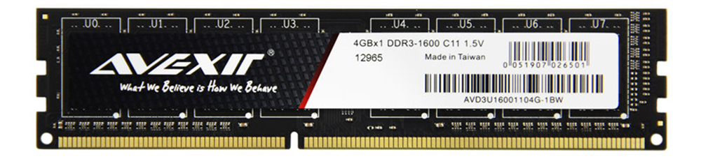 AVEXIR RAM DDR3 4GB / DDR3 8GB Memory Frequency 1600MHz 1.5V Desktop memory Interface Type 240pin 11-11-11-28 CL=11 Single RAMs 42