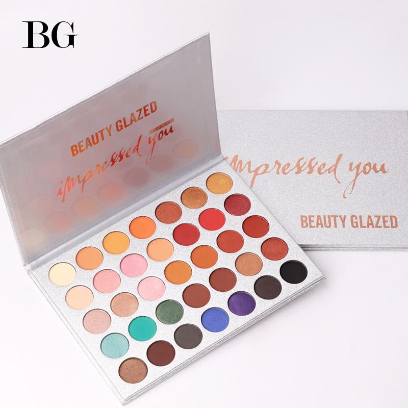 Belleza cristal 35 Color de sombra de ojos paleta de maquillaje brillo mate de sombra de ojos de larga duración paleta maquillaje paleta de sombra