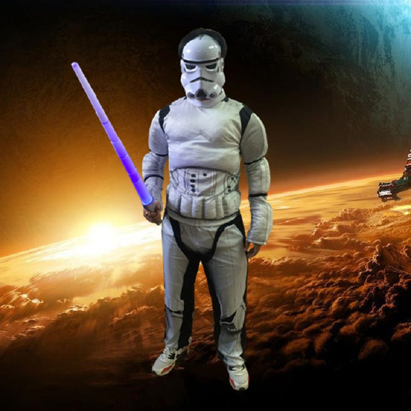 Star Wars Clone Trooper White Soldiers Storm Commando Boys Muscle Costume Child Superhero Kostym För Kids Födelsedagsfest