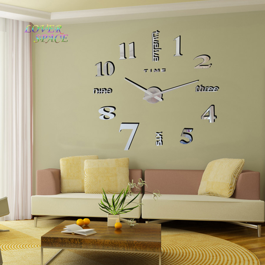 buy europe simple ideas new quartz huge wall clock modern home decoration diy acrylic mirror wall sticker for living room 100x100cm from