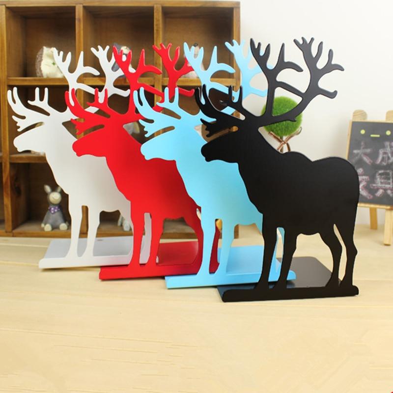 2 teile/satz buch für lesen elch metall buchstützen, die alte weisen Desktop erhalten arrangieren buchstützen für weihnachtsgeschenke