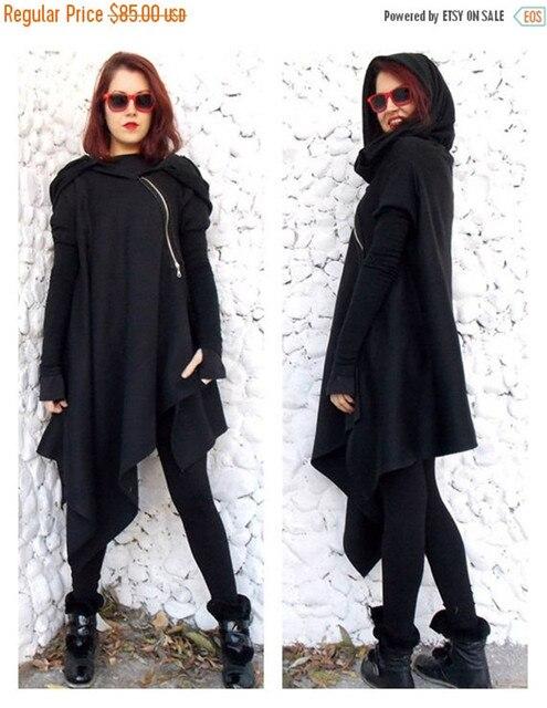 2016 Fashion Women s Long Black Coat Irregular Hooded Poncho Asymmetric  Length Overcoat Jackets Casual Coats 2f5ab5ed5b