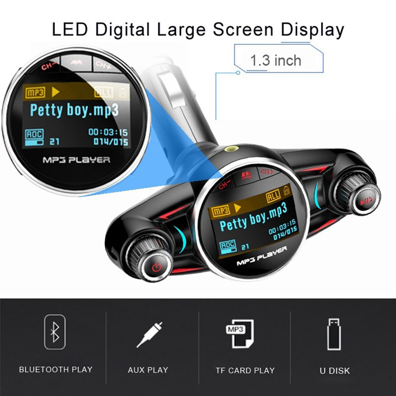 Vehemo Bluetooth Receiver Wireless Radio Adapter Car FM Transmitter FM Transmitter Voltage Detection Smart Handsfree Automobile