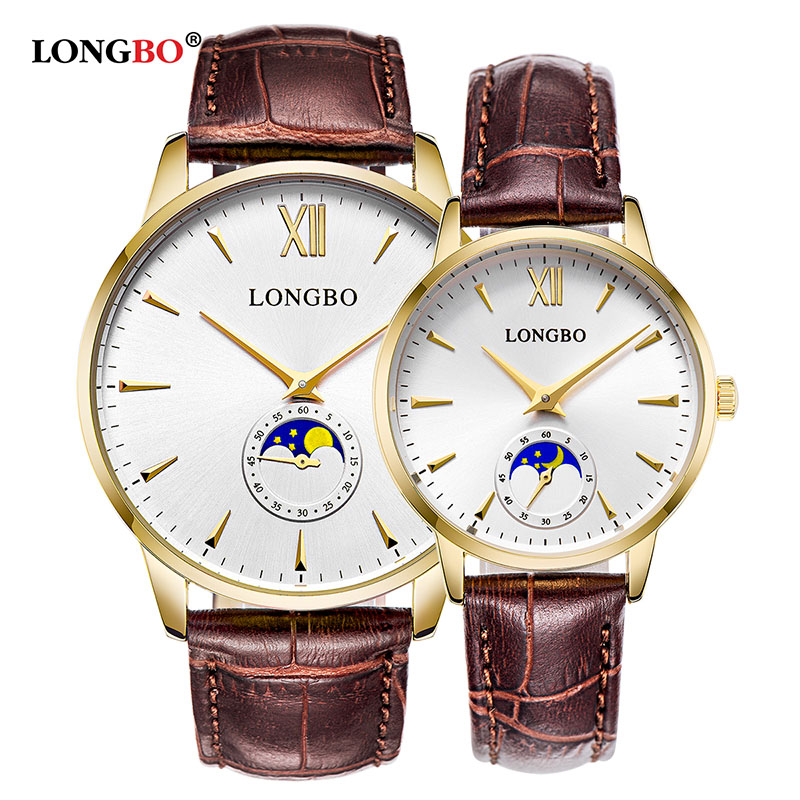 2018 LONGBO Brand Luxury Brief Design Analog Leather Watches Couple Men Women Waterproof Quartz Fashion Wristwatch Montre Homme