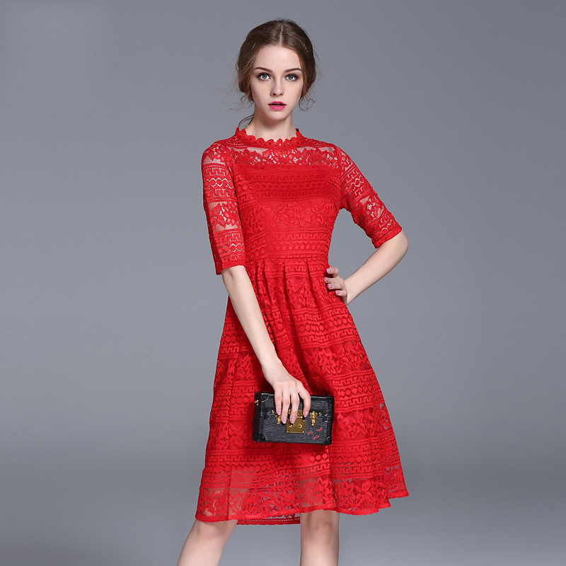Vestidos Mujer Dress Top Fashion Solid A-line Three Quarter New Spring Large Size Women On Behalf Of Taobao Sexy Lace And ...