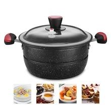 26cm Vacuum Sealing Pressure Cooking Soup Pot Cast Iron Stewpot Saucepan & Steaming Rack Maifan Stone Nonstick Kitchen Cookware