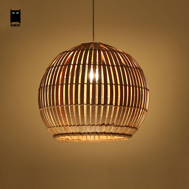 цена на Bamboo Wicker Rattan Round Ball Globe Pendant Light Fixture Southeast Japanese Hanging Asia Lamp Luminaria Indoor Dining Room
