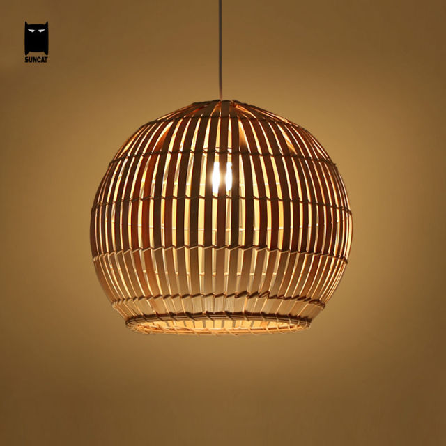 Bamboo Wicker Rattan Round Ball Globe Pendant Light Fixture Southeast Japanese Hanging Asia Lamp Luminaria Indoor