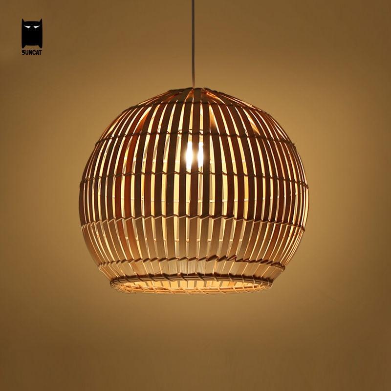 Japanese Lamp Shade: Bamboo Wicker Rattan Round Ball Globe Pendant Light Fixture Southeast  Japanese Hanging Asia Lamp Luminaria Indoor Dining Room,Lighting