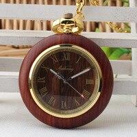 Brand Bronze Tone Roman Number Wooden Case Quartz Movement Mens Womens Pocket Watch Luxury Wooden Watches