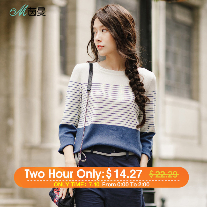 цены INMAN 2018 New Products Women Spring Clothes Loose Striped Pullovers Womens Sweaters Tops