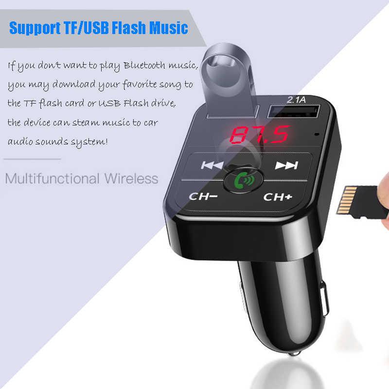 Transmisor FM Bluetooth 5,0 para coche, receptor de Audio manos libres inalámbrico, reproductor de MP3 2.1A automático, Cargador rápido USB Dual, accesorios para coche