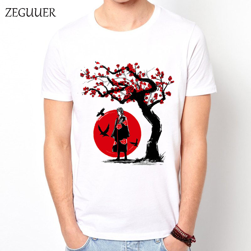 2019 Naruto Uchiha Sasuke Itachi Tshirt Harajuku Streetwear Print Fashion Wind Cotton Round Neck Men's T-shirt Casual Clothes