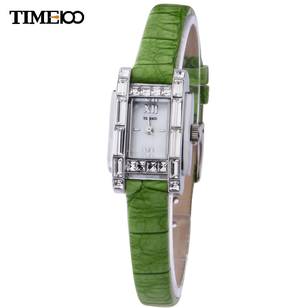 TIME100 Elegance Women Quartz Watch Thin Green Leather Strap Shell Dial Ladies Dress Casual Hand Wrist Watches For Women Clock time100 vintage women bracelet watch analog quartz rhinestone clasp alloy strap dress wrist watches for women relojes de marca