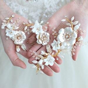 Image 1 - Peinetas de flores de porcelana para novia, conjunto de pasadores para el pelo, tocado de boda a la moda, Tiara lateral para baile de graduación, accesorios para el cabello para novias hechos a mano