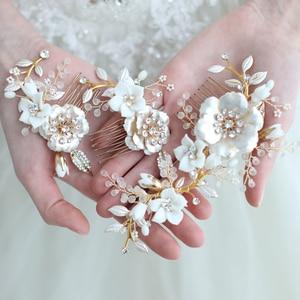 Image 1 - Porcelain Flower Bridal Hair Combs Pins Set Fashion Wedding Headpiece Party Prom Side Tiara Handmade Brides Hair Accessories