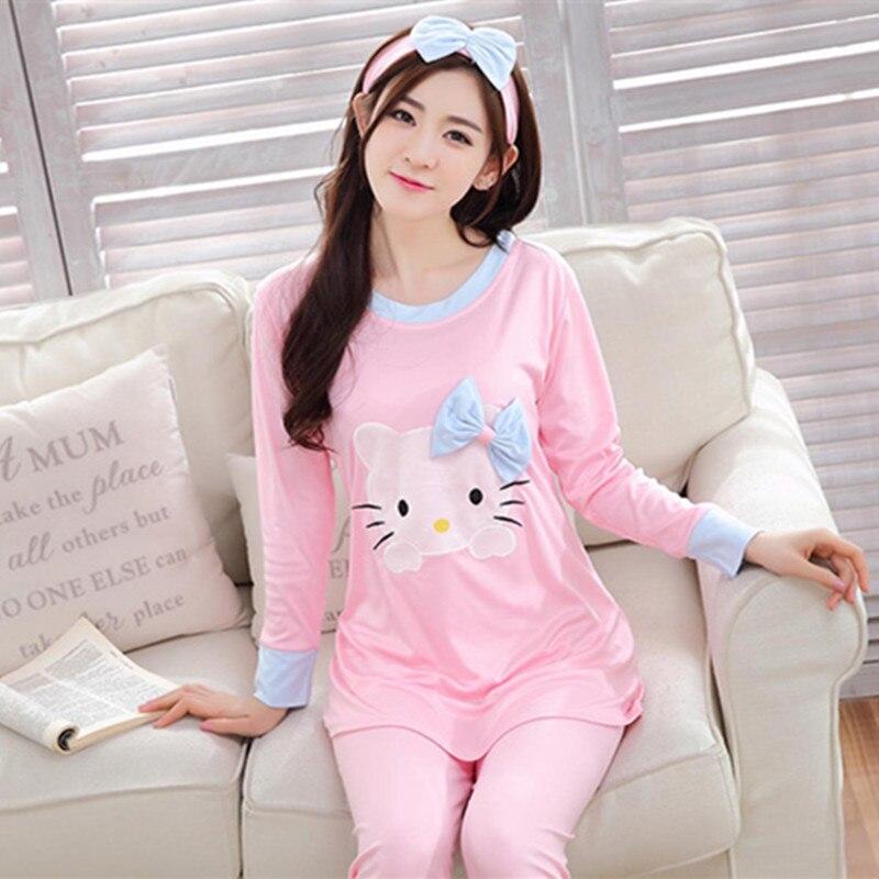 Big Yards M-XXL Women   Pajamas     Sets   Cotton Nightwear Spring Autumn Long Sleeve Pyjamas O-Neck Sleepwear Female Pijamas Mujer