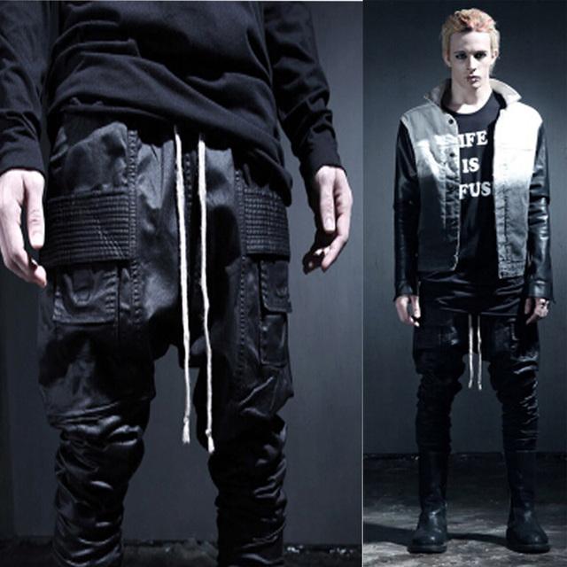 2017 avant garde da moda dos homens casuais hip hop bolso algodão harem baggy sweat pants calças gótico calças estilista