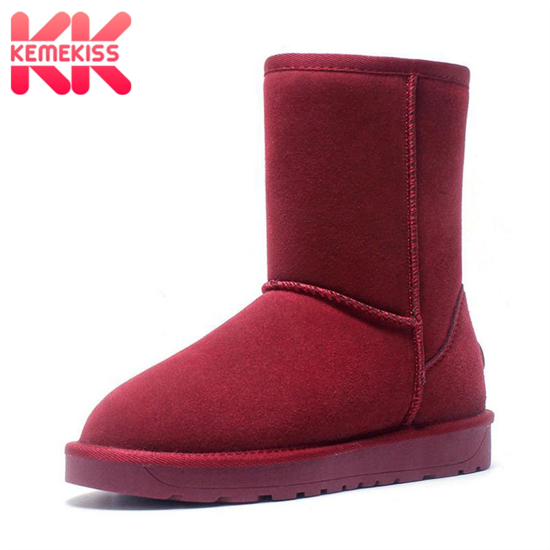 KEMEKISS Real Leather Women Snow Boots Keep Warm Plush Winter Flats Shoes Slip On Soft Outdoor Women Mid Calf Boots Size 34-45 big size new fashion women boots slip on mid calf flats shoes round toe winter snow boots solid plush soft leather shoes woman
