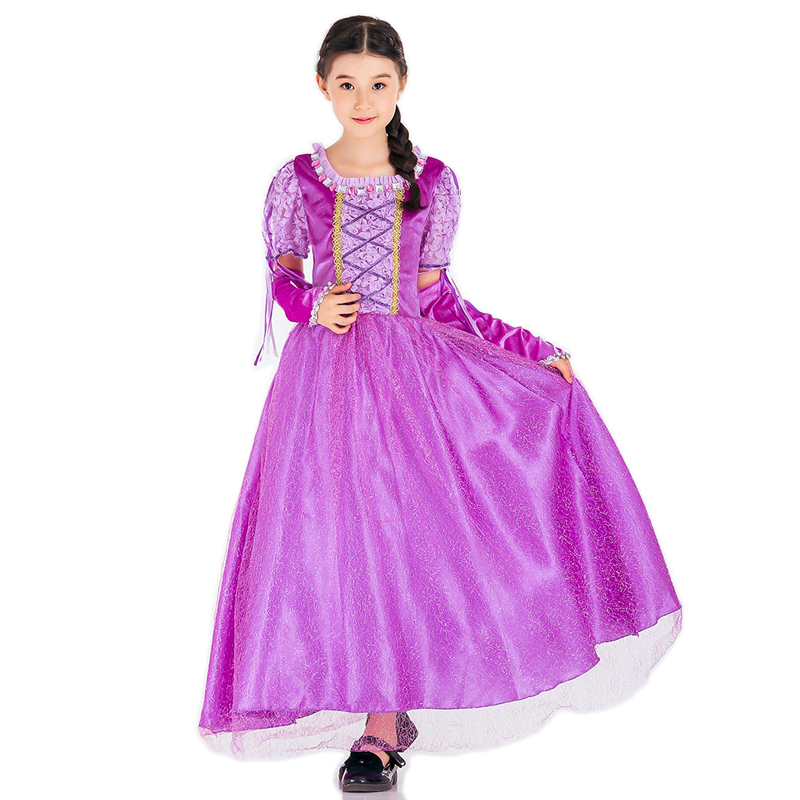 Girls Halloween Dress The Princess Rapunzel Kids Children Purple Dress With Oversleeve Cosplay Costume Fancy Party Dress
