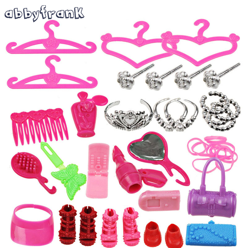 Abbyfrank 42pcs set Doll Accessories Fashion Crown Jewelry Necklace Handbag Accessory For Dolls DIY Learning Toys
