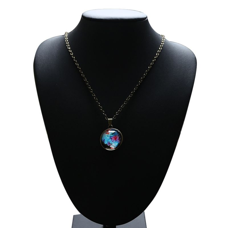 Romantic Starry Sky Pendant Valentine's Day Universe Necklace Gifts Double-sided Transparent Glass Ball Pendant Birthday Gifts 2
