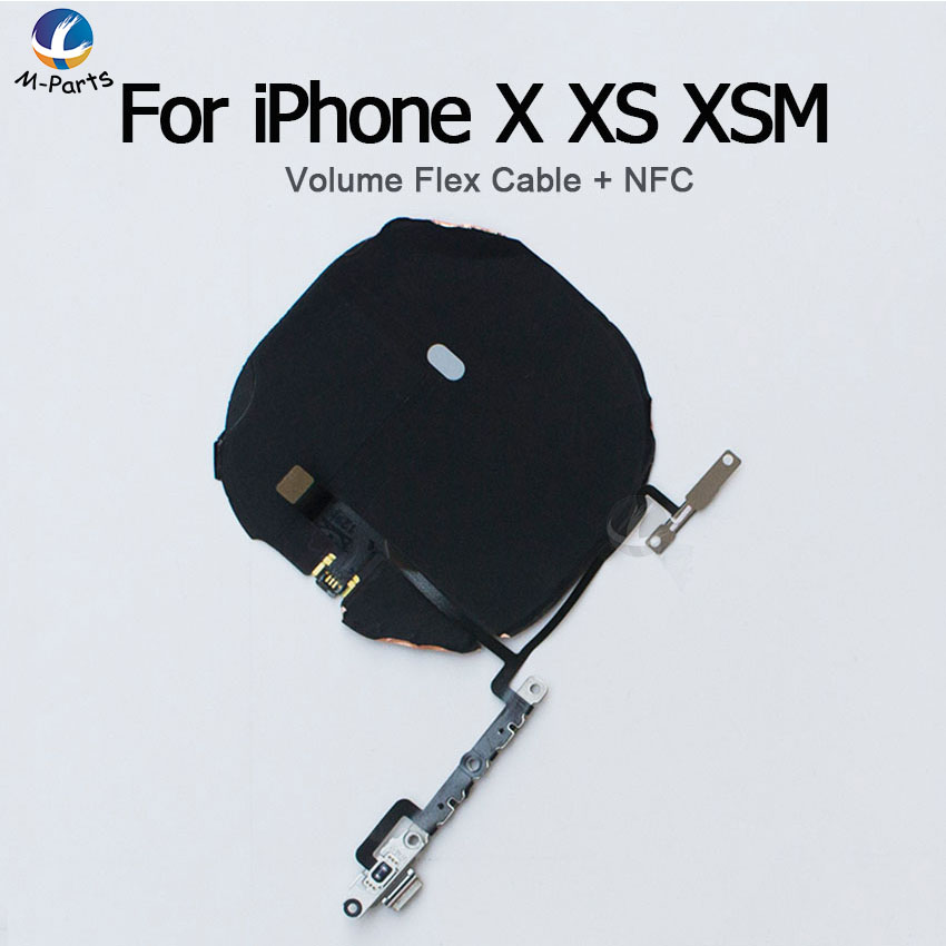 NFC With Volume Flex Cable For IPhone X XS XSM Max XR Wireless Charging Charge Coil Sticker Sensor XR NFC With Compass Flex
