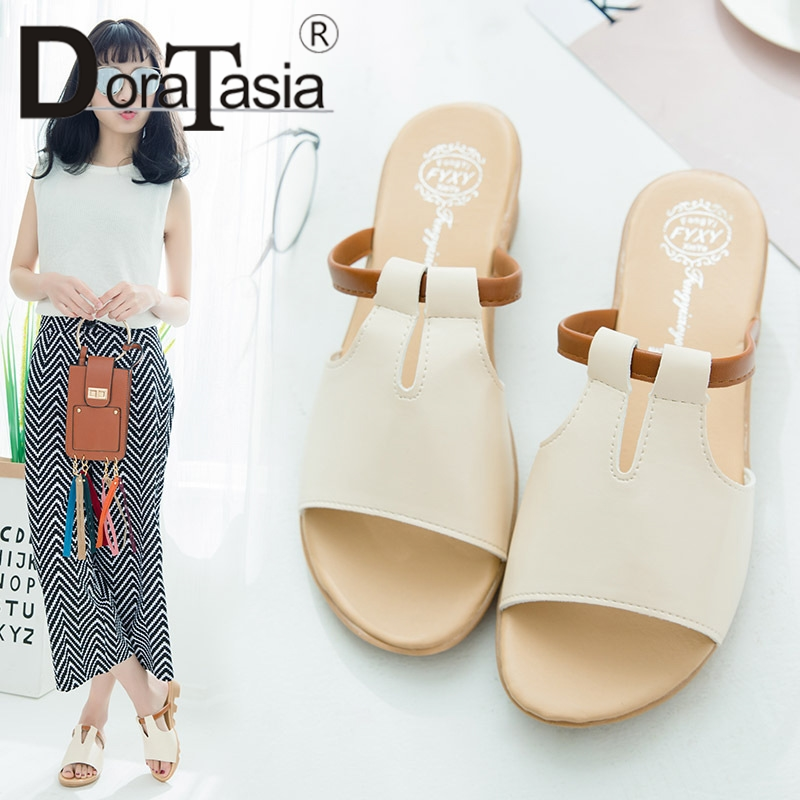 DoraTasia 2019 New Fashion Wedges Med Heels Solid Non-slip Shoes Woman Casual Outside Summer Slippers Big Size 34-41 1