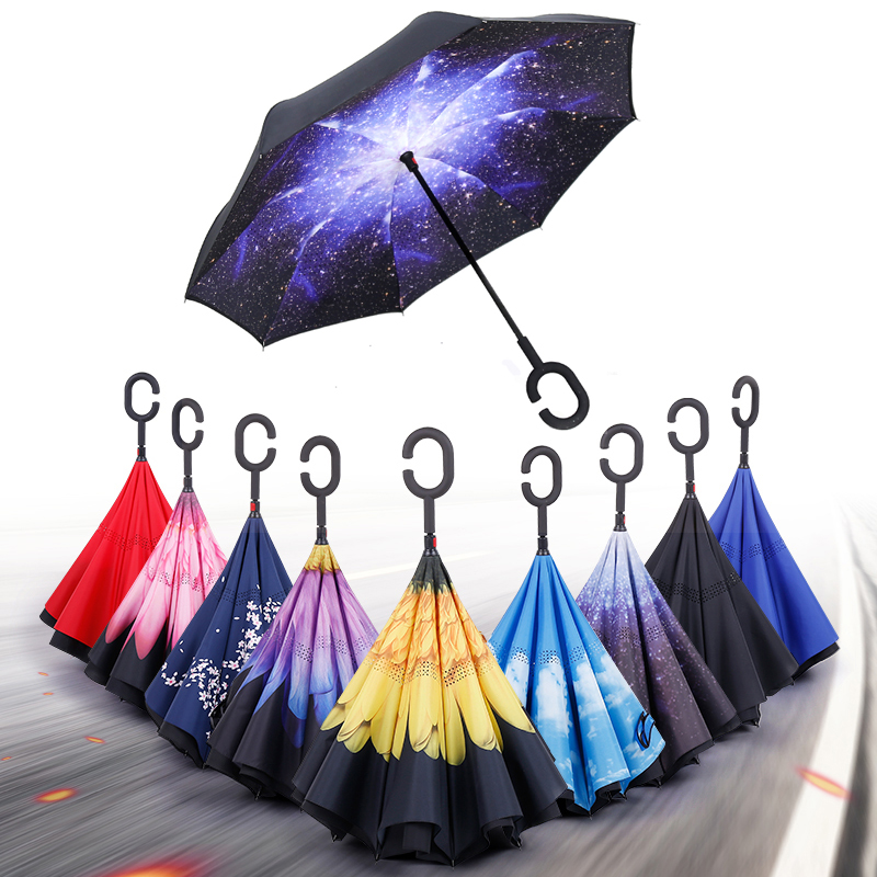 Handy C Hook Hands Car Umbrella Windproof Reverse Folding Double Layer Inverted Umbrella For Women and
