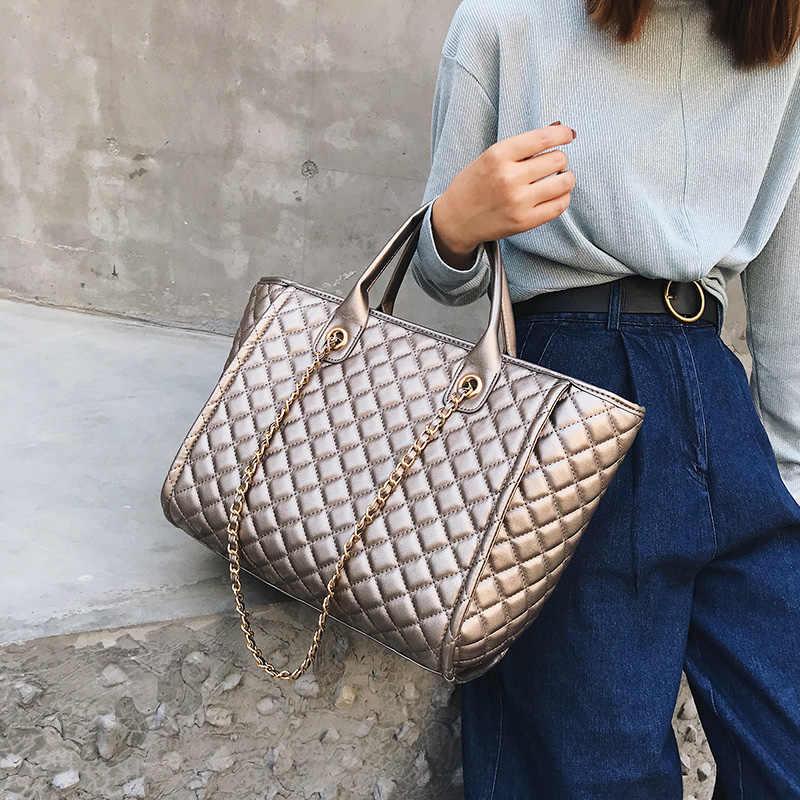 284b7aa03b69 2019 Large Shoulder Bag Women Travel Bags Leather Pu Quilted Bag Female  Luxury Handbags Women Bags Designer Sac A Main Femme