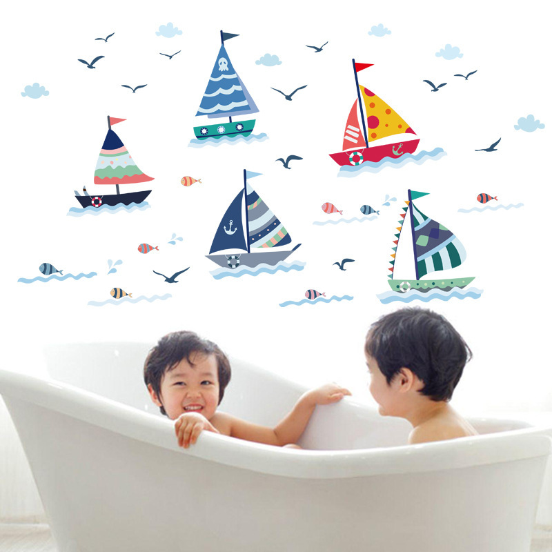 summer pirate sailing boats wall stickers boys kids bedroom bathroom party home decor cartoon sea play paradise DIY mural decals