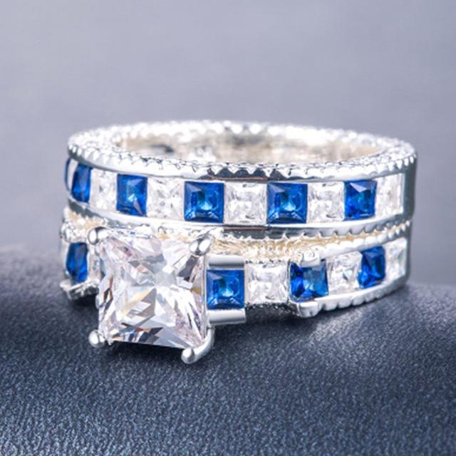 Doppio Verde Quadrato Blu CZ Anello in Rhodium Placcato Fedi Nuziali AAA Zircon Dei Monili Accessori Delle Donne di Fidanzamento anello di Cerimonia Nuziale 4