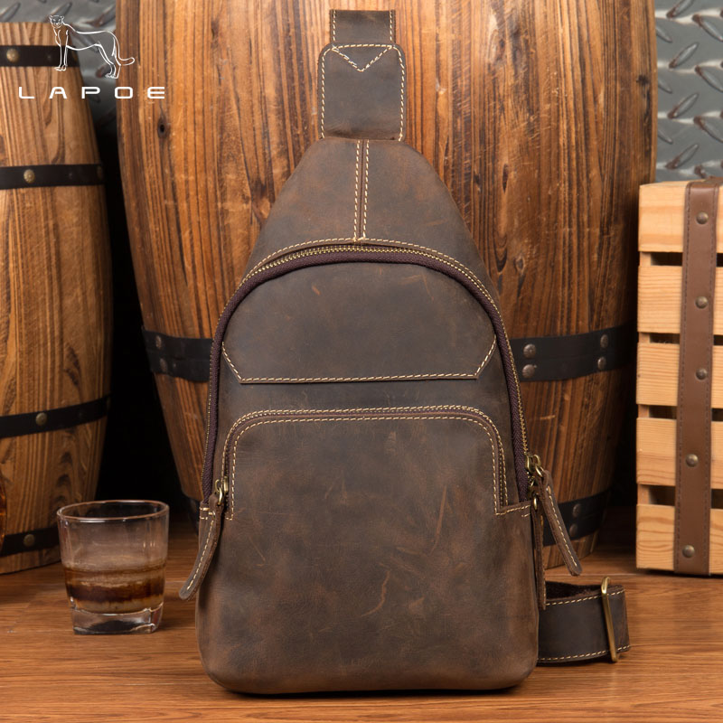 LAPOE Vintage Crazy Horse Genuine Leather Crossbody Bags men Brand Small Male Shoulder Bag casual men's chest bags messenger bag цена