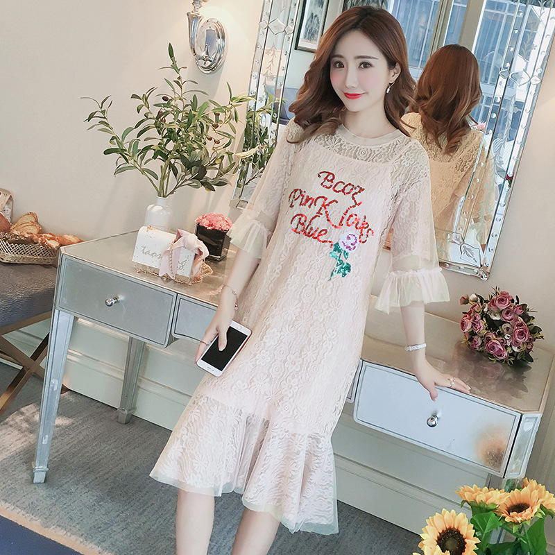 ce0039ba639e4 Casual Lace Maternity pagoda sleeve dresses Hollow out Stylish Clothes for  Pregnant Women Korean Pregnancy Letters outwear-in Dresses from Mother &  Kids on ...