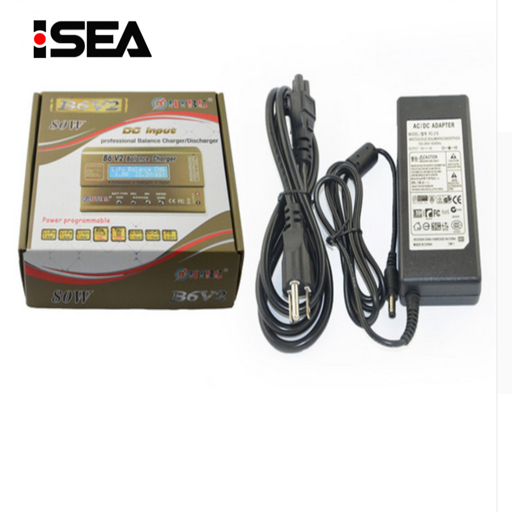 HTRC B6 V2 80W Battery Balance Charger Discharger With 15V 6A AC Power Adapter For LiHV LiPo LiIon LiFe NiCd NiMH PB Battery