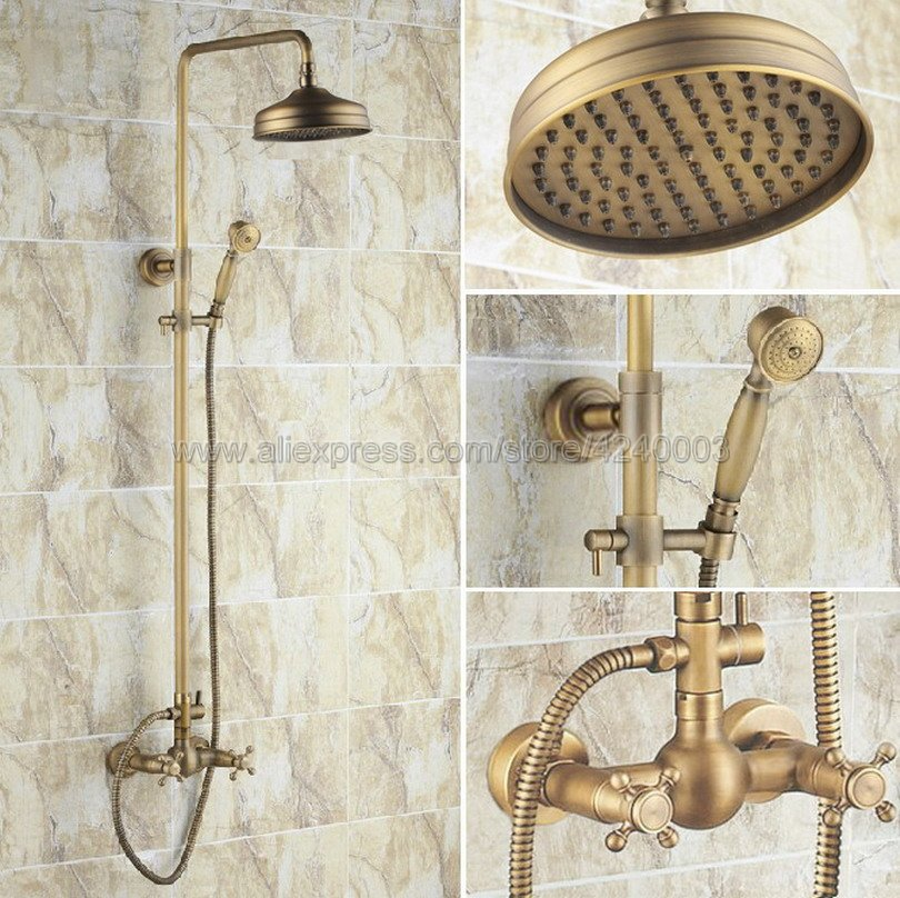 Antique Brass Wall Mounted Bathroom Shower Faucet Mixer Taps Dual Handle with Hand Held Shower Krs034 цена