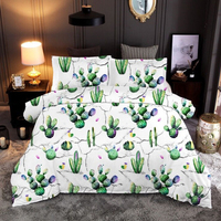 Green Cactus Flower Plants Home bedding set Duvet Covers Pillowcases 10 Sizes comforter bedding sets bed Quilt Cover bedding