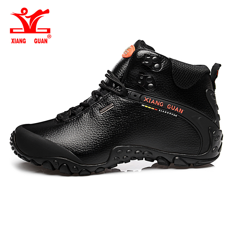 2017 XIANG GUAN Man Hiking shoes outdoor sneaker climbing High Leather mountain sport trekking tourism boots botas waterproof цена