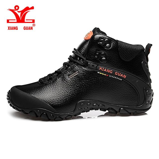 2017 XIANG GUAN Man Hiking shoes outdoor sneaker climbing High Leather mountain sport trekking tourism boots botas waterproof
