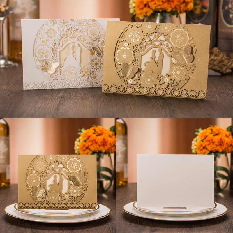 1pcs Sample Laser Cut Bride and Groom Marriage Wedding Invitations Cards Greeting Cards 3D Cards Postcard Event Party Supplies 50pcs gold red laser cut hollow flower marriage wedding invitation cards 3d card greeting cards postcard event party supplies