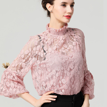 Women Pink Lace Blouse Hollow Out Floral Tops With Tank Top Stand Collar Long Lantern Sleeve Loose Plus Size 4XL Summer Blouses pink lantern sleeves hollow out lace blouse