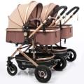 Бесплатная доставка коляска для близнецов Роскошная модная коляска алюминиевая рама с высоким ландшафтом детская коляска