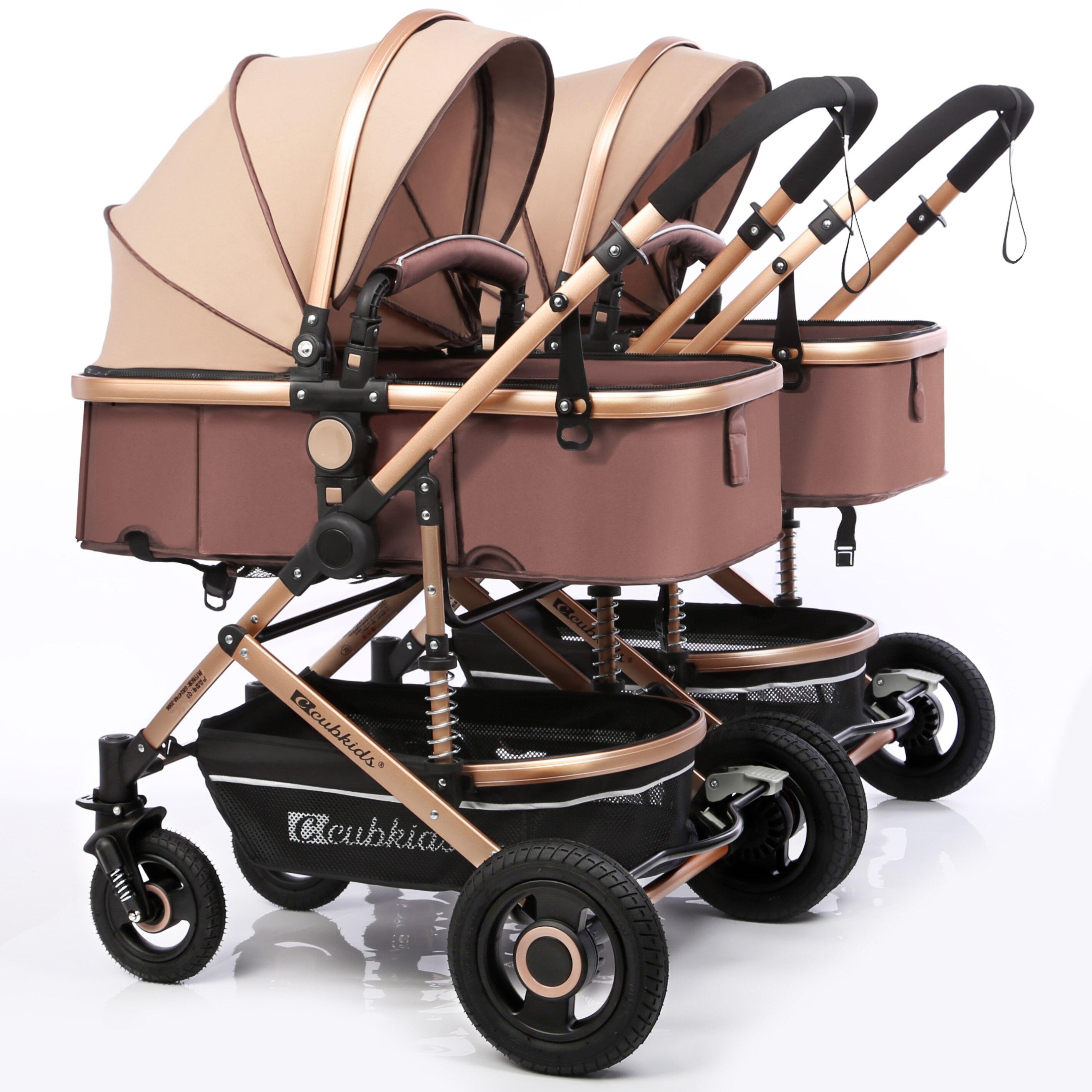 Darmowa wysyłka wózek dla bliźniąt luksusowe modne wózek aluminiowa rama o wysokiej krajobraz wózek dla dziecka