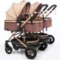 Kostenloser Versand Twins Baby Kinderwagen Luxus Modische Pram Aluminium Rahmen High-Landschaft Baby Wagen