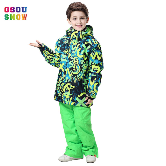 1d865d4de5 Gsou Snow Winter Ski Suit For Boys Kids Waterproof Warm Snowboarding Suits  Ski Jacket Snowboard Sets Outdoor Skiing Snow Wear