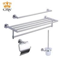 CRW Bathroom Accessories Set,Towel Bar,Toilet Brush Holder,Toilet Paper holder,towel rack 4pcs/pack Pohished Chrome