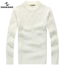 SHAN BAO brand men and women can wear Slim solid color 65% wool sweater 2017 winter thick warm round neck Lingge sweater white